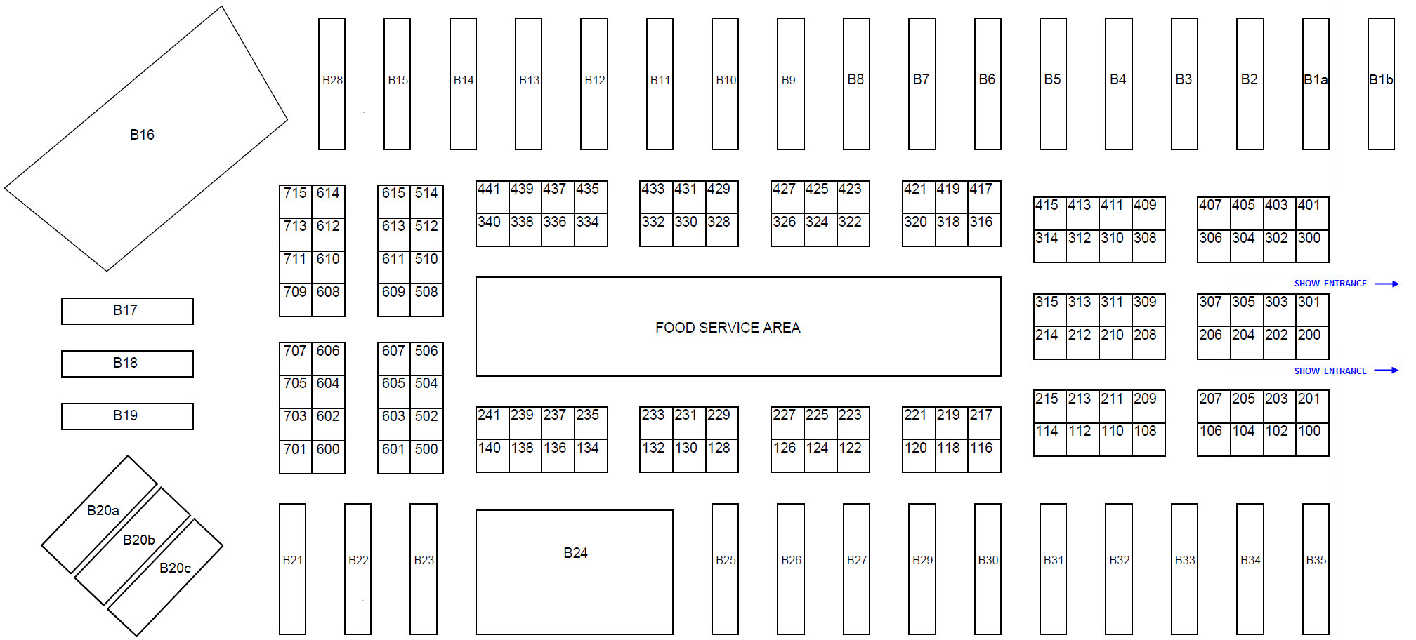 2020 OTE Exhibitor Floorplan </br>